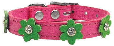 Pink collar w green flowers-Leather