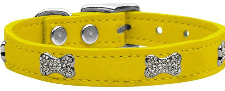 fashiom dog collar leather crystal bone -yellow