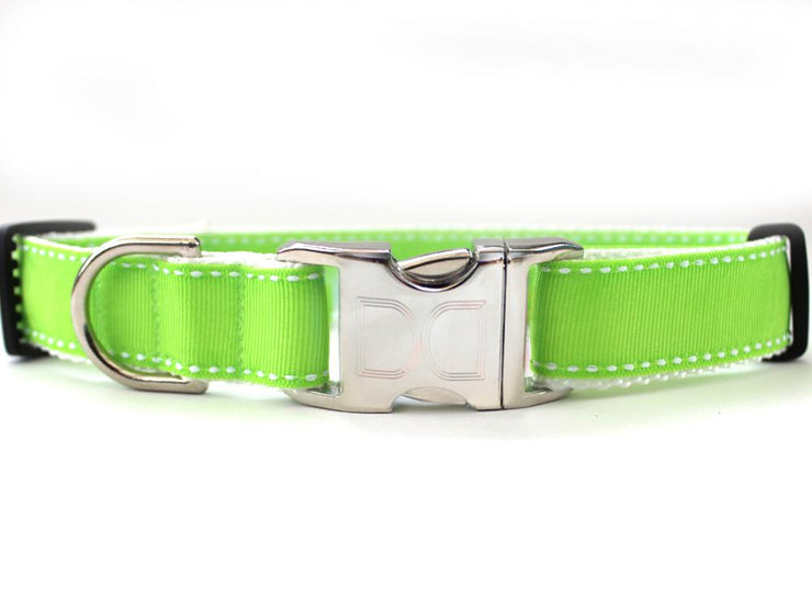 Lime green collar with metal buckle