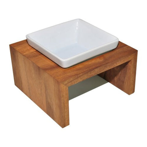 Natural Wood Ceramic dog bowl feeder