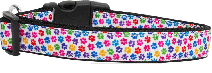 nylon dog collar white ribbon overlay collar with colorful tiny paws blue, yellow, lavender, pink