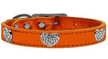 orange metallic leather collar