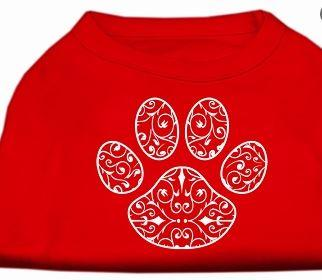 paw print graphic tee for dogs-red