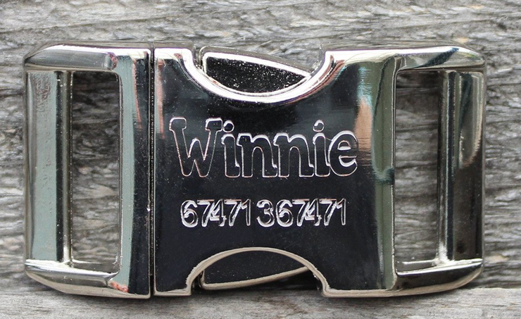 Name and Phone engraved aluminum buckle