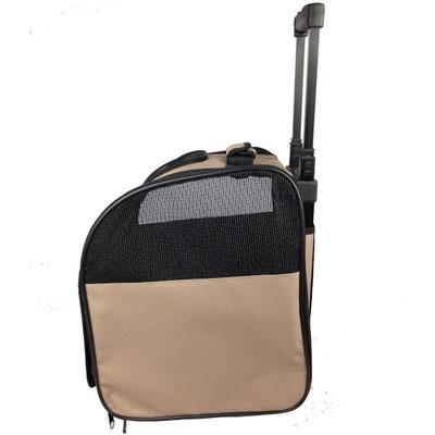 brown rolling carrier for pet traveling