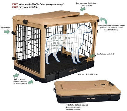 Tan Other Door Steel Pet Crate with Wheels
