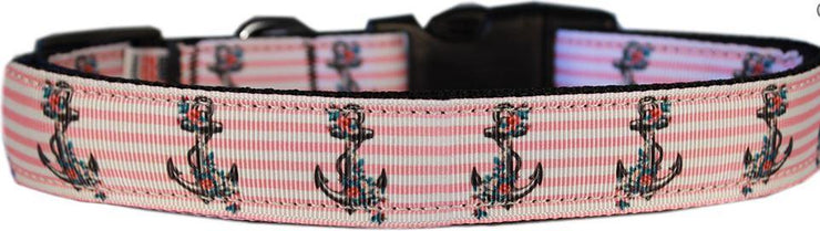 pink dog collar with anchors