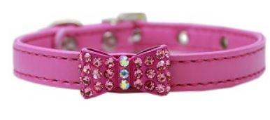 Pink  collar with rhinestone bow tie