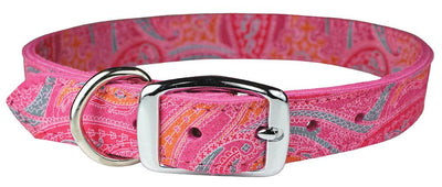 Pink paisley print Dog collar with metal buckle Pink Leather