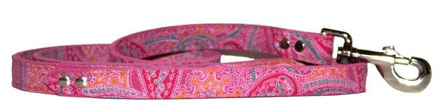 Pink paisley print Dog Lead Pink Leather