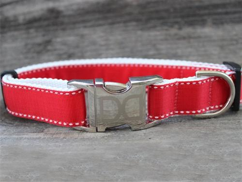 red preppy dog collar iaccent stitching