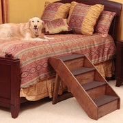 Folding walnut pet steps stairs allows pets safe access onto bed or furniture