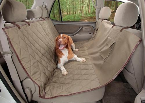 Quilted pet hammock back seat vehicle cover