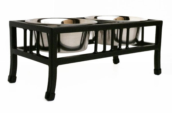 Baron 2 Bowl Luxury Dog Feeder -black