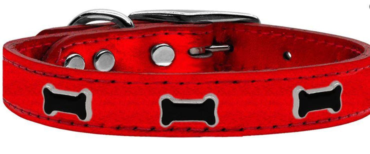 red metallic bone collar