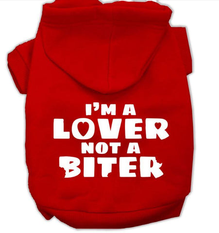 Lover not a biter dog hoodie-red
