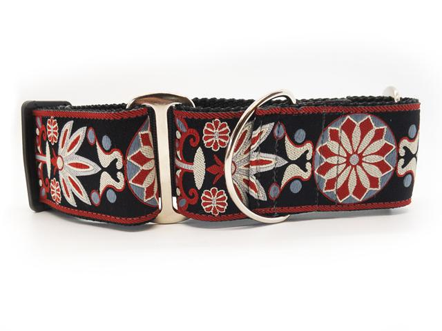 wide collar martingale style- star and leaf design - red, pewter,  grey on black background