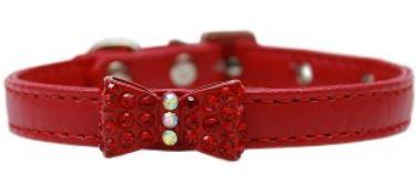 Red  collar with rhinestone bow tie