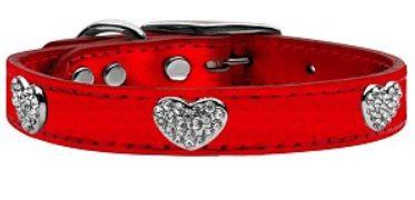 Leather Collars with Crystal Hearts