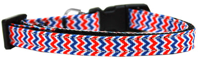chevron dog collar-red-white-blue