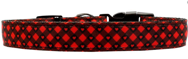 red plaid dog collar with rust proof buckle