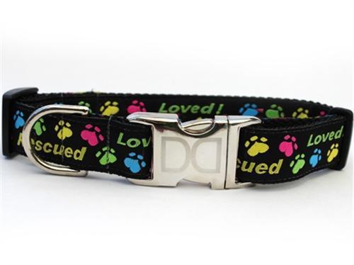 rescued dog collar black with colorful paw prints