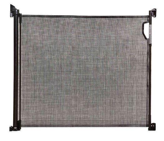 retracting fabric pet barrier gate durable fabric rolls up like a horizontal  shade