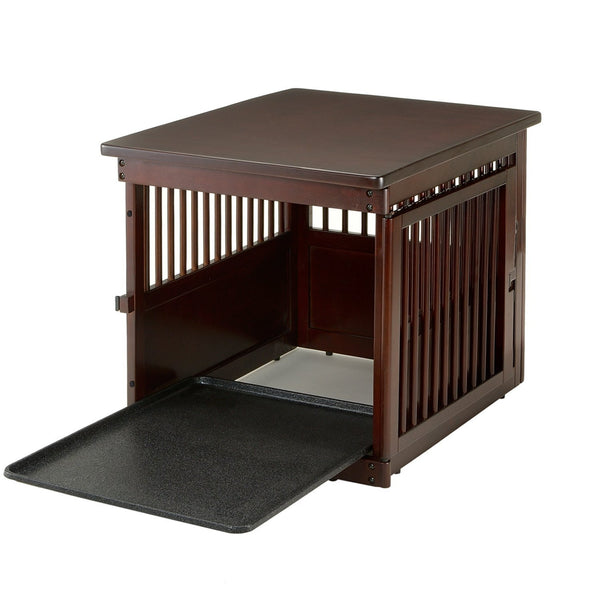 Richell Wooden Dog Crate End Table Color Dark Brown Officialdoghouse