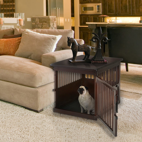 Wooden Dog Crate End Table Dark Brown Officialdoghouse