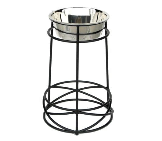 Wrought Iron Tall Dog Feeder With Criss Cross Design Base