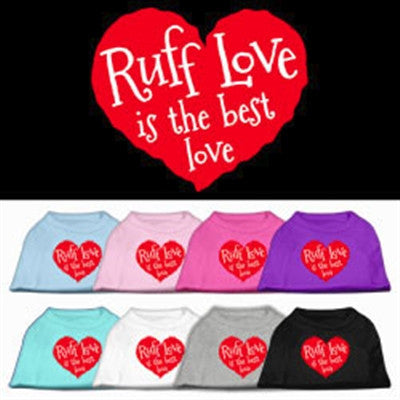 heart dog shirt with saying ruff love