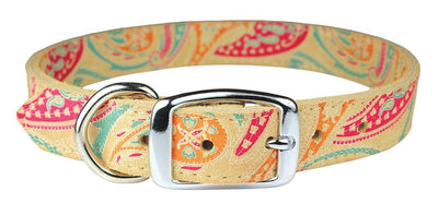Paisley Leather Collar -Sand