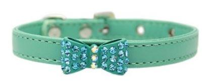 Aqua collar with rhinestone bowtie