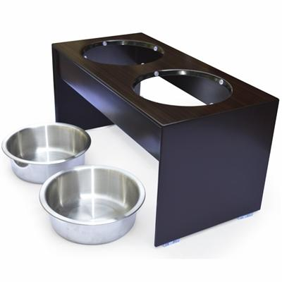 2 bowl wood dog diner with water resistant finish