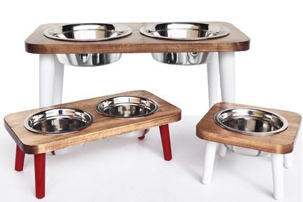 Elevated Wooden Dog Diners- Maple -Wood