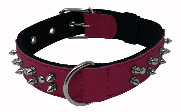 Wide Spiked Leather Collar - red