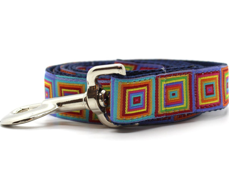 square geometric pattern dog lead by Diva Dog USA made