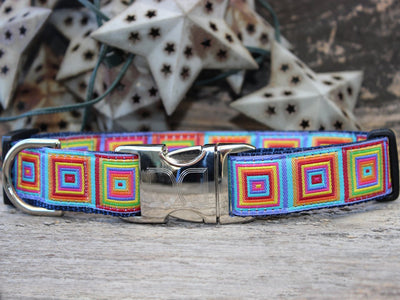 square geometric pattern dog collar silver buckle hardware