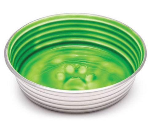 Green stainless dog bowl with ceramic finish