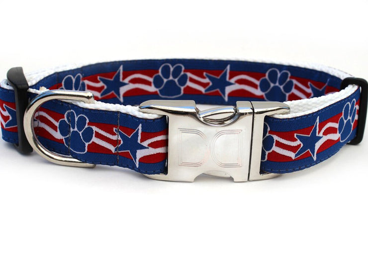 Stars and paws red white and blue collar