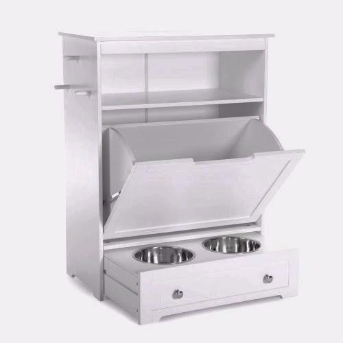 dog food storage feeder -with bowls in drawer