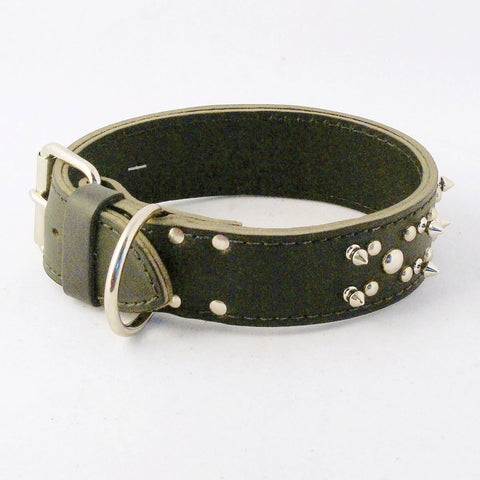 Black or Brown Studded Spike Leather Dog Collar