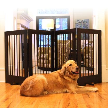 Walnut finish pet barrier