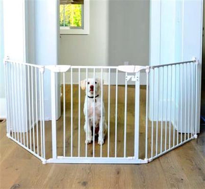 Extra wide White dog gate -wall mount