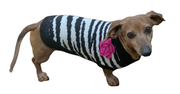 dog sweater with large rose flower zebra print