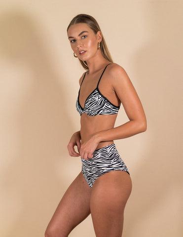 Samantha Bikini Top- Zebra Orange Reversible
