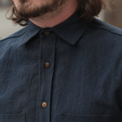 Linen Button Down Shirt Navy