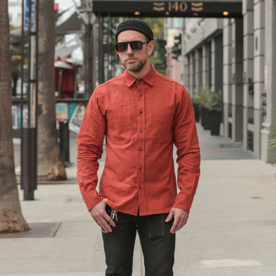 Linen Button Down Shirt Brick