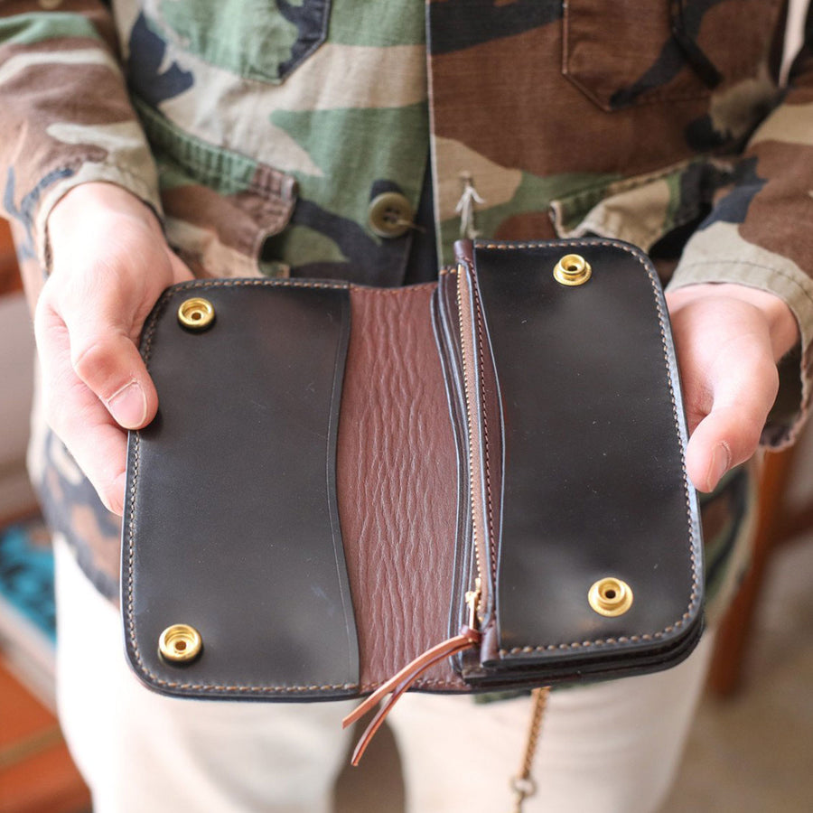 The Black Acre Phantom Trucker Wallet Black Japanese Shell Cordovan