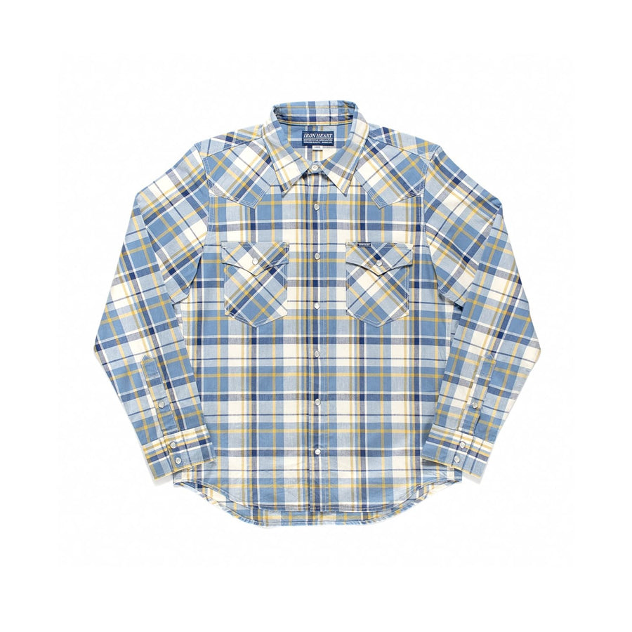 IHSH-220 Madras Check Western Shirt Indigo Yellow